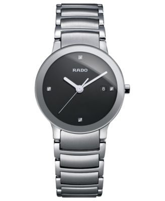 Rado Watch, Women's Swiss Centrix Diamond Accent Stainless Steel Bracelet 28mm R30928713