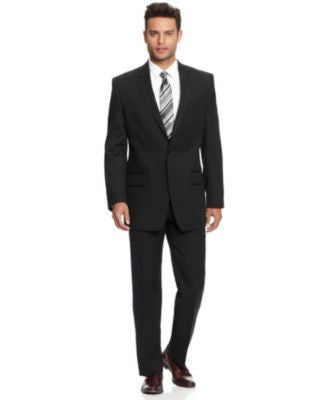 Alfani Black Solid Texture Suit Separates