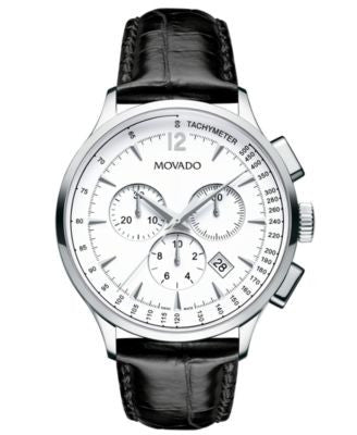 Movado Men's Swiss Chronograph Circa Black Croco-Grained Leather Strap Watch 42mm 0606575