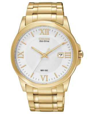 Citizen Men's Eco-Drive Gold-Tone Stainless Steel Bracelet Watch 40mm BM7262-57A