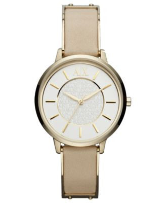 A|X Armani Exchange Watch, Women's Gold-Tone Stainless Steel and Nude Leather Strap 38mm AX5301