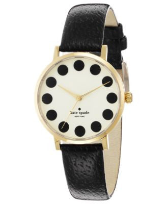 kate spade new york Watch, Women's Metro Black Leather Strap 34mm 1YRU0107