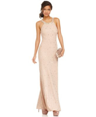 Adrianna Papell Dress, Sleeveless Beaded Gown