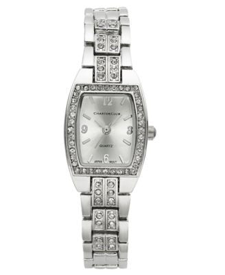 Charter Club Women's Silver-Tone Crystal Bracelet Watch 28mm