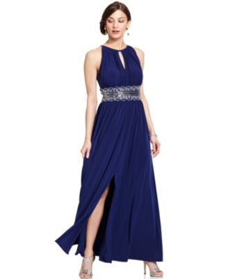 R&M Richards Sleeveless Beaded Evening Gown