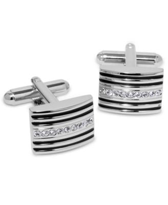 Geoffrey Beene Cufflinks, Striped and Crystal Bowed Rectangle Cufflinks Boxed Set