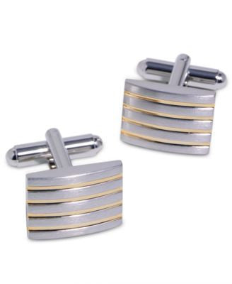 Geoffrey Beene Cufflinks, Striped and Bowed Retangle Cufflinks Boxed Set