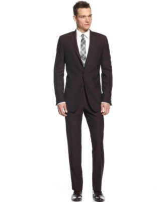 Calvin Klein X-Fit Burgundy Solid Extra Slim Fit Suit Separates