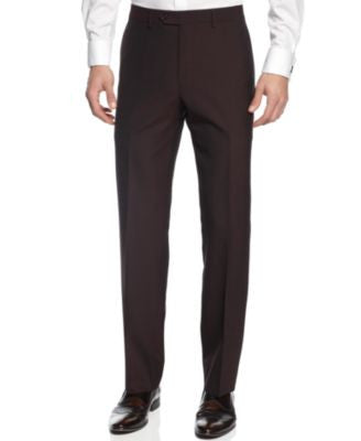 Calvin Klein X-Fit Burgundy Solid Extra Slim Fit Pants