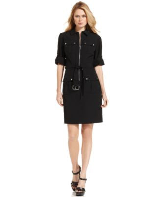 MICHAEL Michael Kors Petite Dress, Rolled Sleeve Zip Front