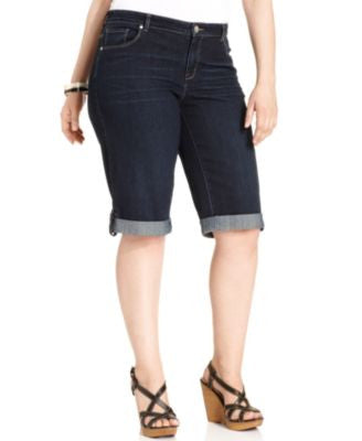 Style & Co. Plus Size Cuffed Denim Bermuda Shorts, Only at Vogily