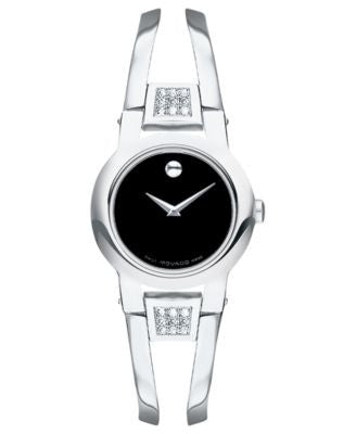 Movado Women's Swiss Amorosa Diamond Accent Stainless Steel Bangle Bracelet Watch 24mm 0604982