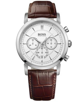 BOSS Hugo Boss Watch, Men's Chronograph Brown Leather Strap 42mm 1512871