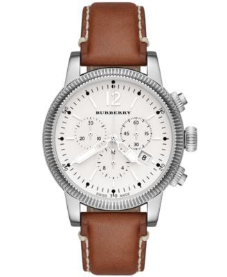 Burberry Watch, Women's Swiss Chronograph Tan Leather Strap 42mm BU7817