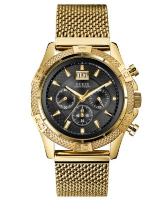 GUESS Watch, Men's Chronograph Gold Tone Stainless Steel Mesh Bracelet 46mm U0205G1