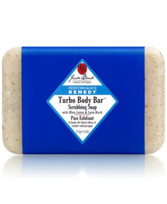 Jack Black Turbo Body Bar Scrubbing Soap with Blue Lotus & Lava Rock, 6 oz
