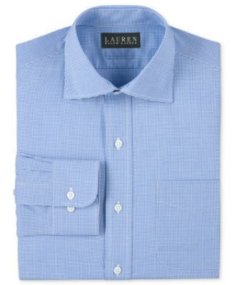 Lauren Ralph Lauren Non-Iron Slim-Fit Blue Micro-Gingham Dress Shirt