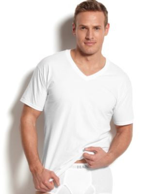 Hanes Platinum Men's Underwear, V-Neck T-Shirt 5 Pack