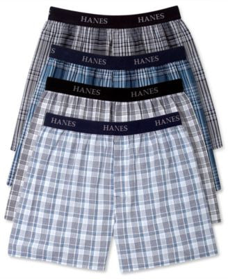 Hanes Platinum Men's Underwear, Elastic Waistband Plaid Woven Boxer 4 Pack