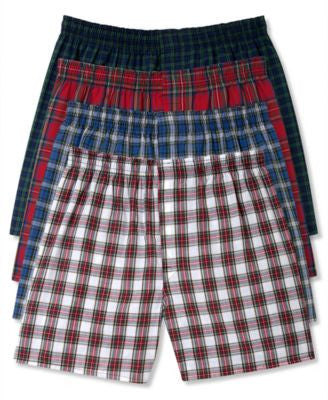 Hanes Platinum Men's Underwear, Plaid Woven Boxer 4 Pack