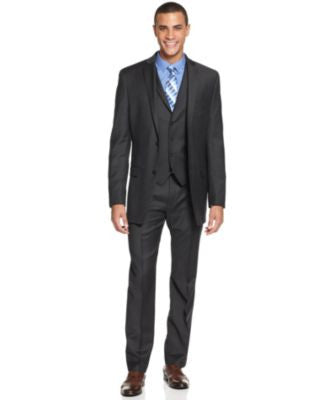 Alfani Charcoal Plaid Slim-Fit Suit Separates