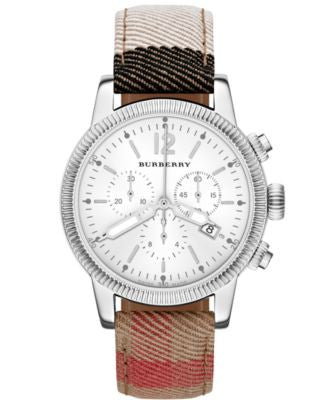 Burberry Watch, Women's Swiss Chronograph House Check Strap 42mm BU7820