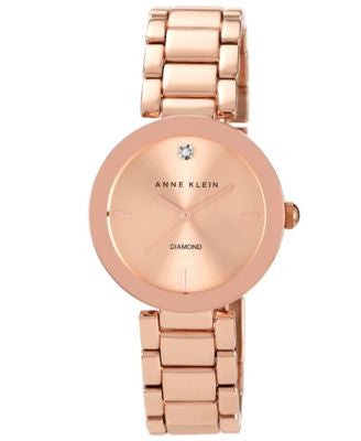 Anne Klein Watch, Women's Diamond Accent Rose Gold-Tone Bracelet 32mm AK-1362RGRG