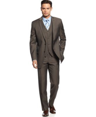 Alfani Light Brown Twill Slim-Fit Suit Separates