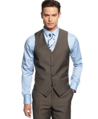 Alfani Light Brown Twill Slim-Fit Vest