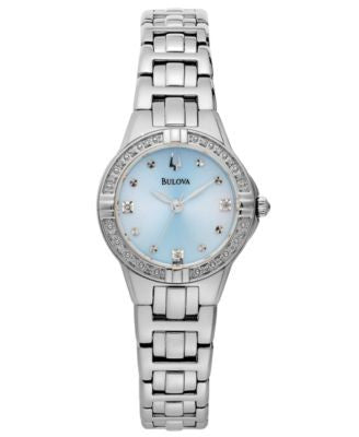 Bulova Women's Diamond Accent Stainless Steel Bracelet Watch 32mm 96R172