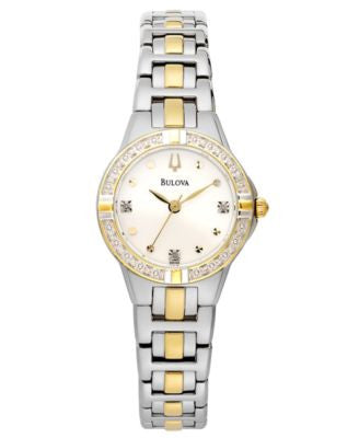 Bulova Women's Diamond Accent Two-Tone Stainless Steel Bracelet Watch 28mm 98R166