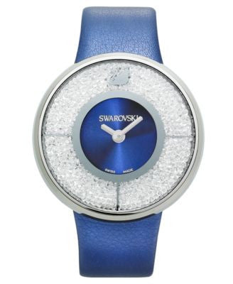 Swarovski Watch, Women's Swiss Crystalline Navy Calfskin Leather Strap 40mm