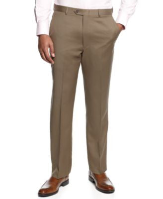Lauren Ralph Lauren Tan Flat-Front Dress Pants