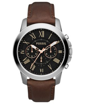 Fossil Men's Chronograph Grant Brown Leather Strap Watch 44mm FS4813