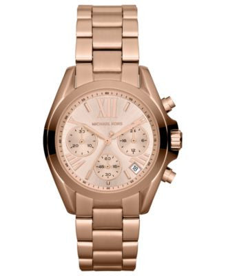 Michael Kors Women's Chronograph Mini Bradshaw Rose Gold-Tone Stainless Steel Bracelet Watch 35mm MK