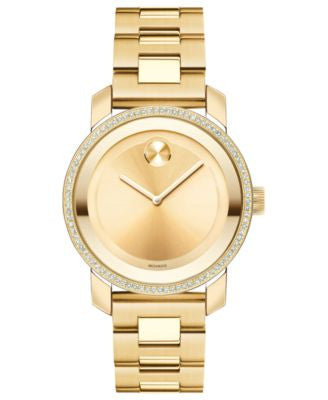 Movado Women's Swiss Bold Diamond (2/5 ct. t.w.) Gold Ion-Plated Stainless Steel Bracelet Watch 36mm
