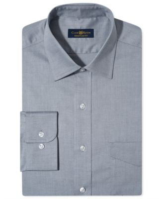 Club Room Estate Wrinkle Resistant Grey Solid Dress Shirt