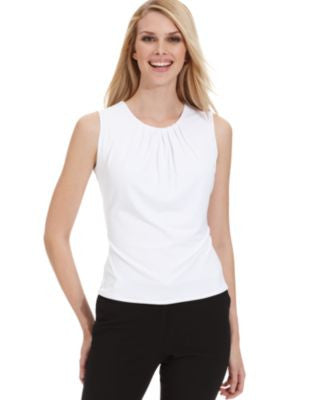Calvin Klein Petite Top, Sleeveless Pleated Suit Shell
