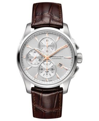 Hamilton Watch, Men's Swiss Automatic Chronograph Jazzmaster Brown Leather Strap 42mm H32596551