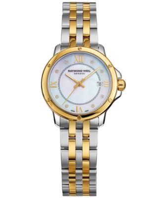 RAYMOND WEIL Watch, Women's Swiss Tango Diamond Accent Two-Tone Stainless Steel Bracelet 28mm 5391-S