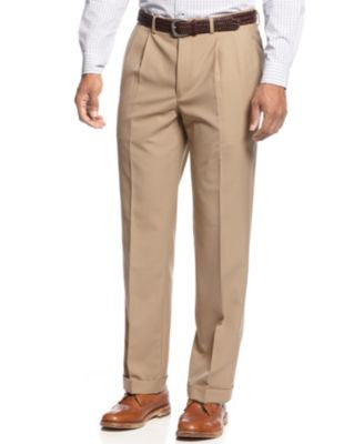 Lauren Ralph Lauren Solid Wool-Blend Pleated Dress Pants