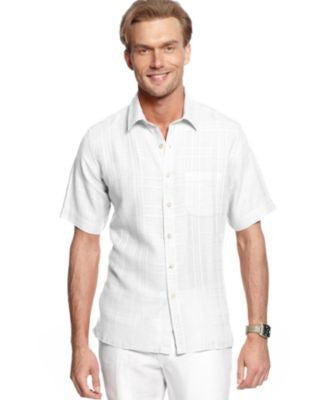 Tasso Elba Short-Sleeve Textured Linen-Blend Shirt