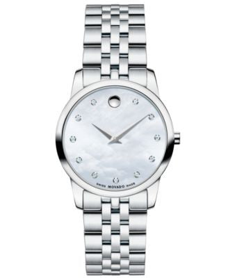 Movado Women's Swiss Museum Classic Diamond Accent Stainless Steel Bracelet Watch 28mm 0606612