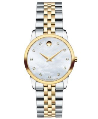 Movado Women's Swiss Museum Classic Diamond Accent Two-Tone Stainless Steel Bracelet Watch 28mm 0606