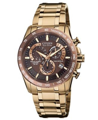 Citizen Men's Eco-Drive Perpetual Chrono A-T Rose Gold-Tone Stainless Steel Bracelet Watch 42mm AT41
