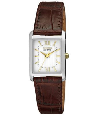 Citizen Women's Eco-Drive Brown Leather Strap Watch 25x23mm EP5914-07A