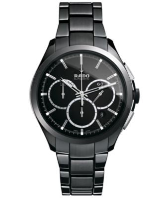Rado Watch, Men's Swiss Automatic Chronograph Hyperchrome Black High-Tech Ceramic Bracelet 45mm R322