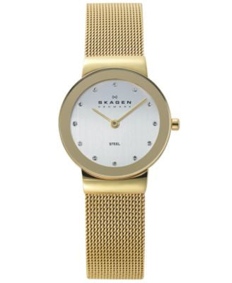 Skagen Watch, Women's Gold Ion-Plated Stainless Steel Mesh Bracelet 26mm 358SGGD
