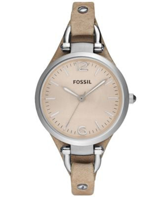 Fossil Women's Georgia Sand Leather Strap Watch 32mm ES2830