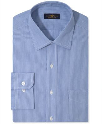 Club Room Men's Classic-Fit Non-Iron Blue Micro-Stripe Dress Shirt, Only at Vogily